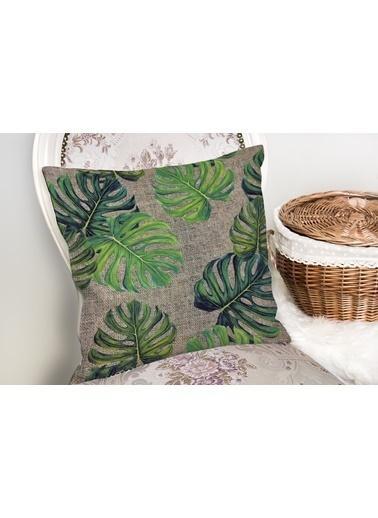 Real Homes Çuval Zeminli Palmiye Yaprakları Özel Tasarım Yastık Kırlent Kılıfı Renkli